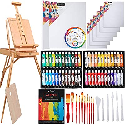 MEEDEN 76 Pcs Deluxe Artist Painting Kit with French Style Easel, 48-Color Acrylic Paint Set, 10-Pcs Paintbrushes, 6-Pcs Canvas Panel, 2-Pcs Stretched Canvas, 1-Pcs Wood Palette, 1-Pcs Acrylic Painting Pad, 6-Pcs Palette Knife Set, 1-Pcs Color Mixing whee