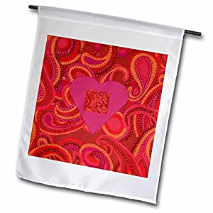 Florene Designer Paisley - Square Paisley On A Pink Heart With Fuchsia Paisley Background - 12 x 18 inch Garden Flag (fl_62209_1)