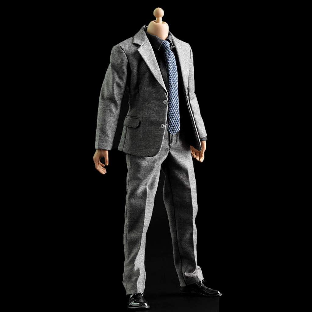 Amazon.es: NON 1/6 Trajes Grises Conjunto Pantalones Ropa Camisa ...