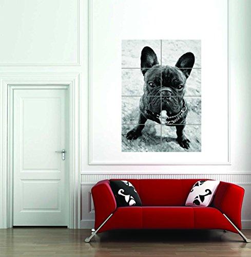 フレンチブルドッグ犬子犬ブラックホワイトGiantアートプリントホーム装飾ポスター