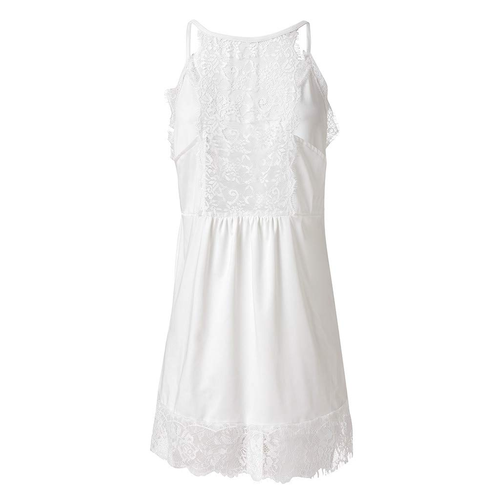 NUWFOR Women Ladies Solid Sexy Lace Patchwork Insert V-Neck Sling Loose Tank Top Blouse(White,US XS Bust:31.4'') by NUWFOR (Image #7)