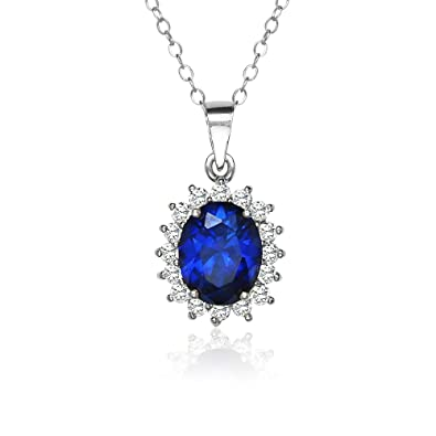 b96340579d3c2e Amazon.com: Sterling Silver Royal Blue Cubic Zirconia Oval Necklace: Jewelry