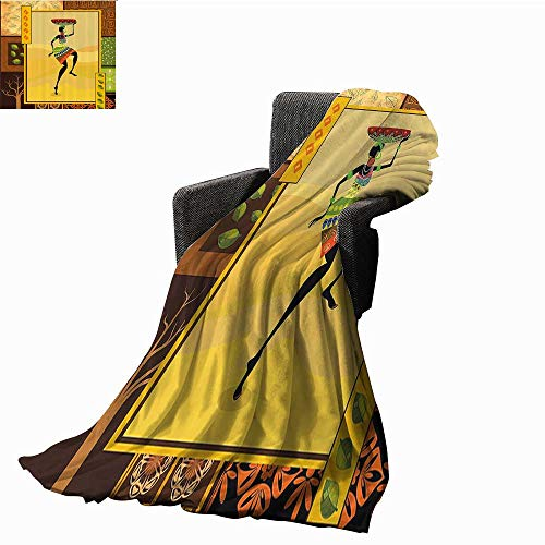 Mannwarehouse African Decor Decorative Throw Blanket Ethnic Girl Dancing Exotic Zulu Cultural Figure Tribal Fashion Artsy Design Cozy for Couch Sofa Bed Beach Travel 54