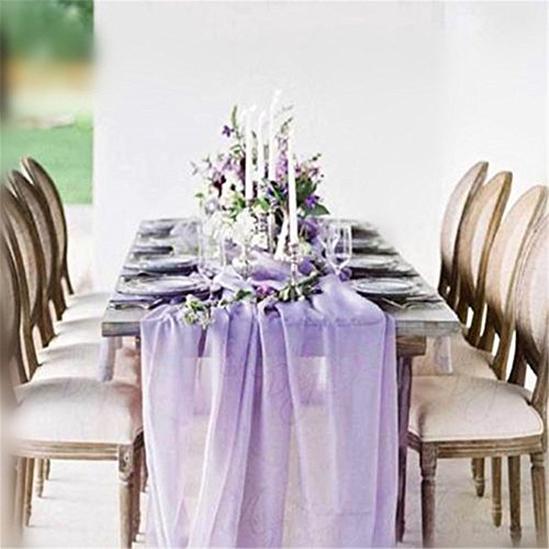 QueenDream 2-Pack Light Purple Gorgeous Chiffon Table Runner 27 x 120 Inches for Wedding Decor Party Cake Table Decorations