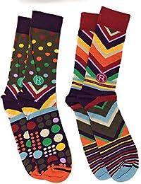 Best Sale France Men Mix Match Crew Socks Funky Dots Stripes Patterns 2 Pairs Us 812
