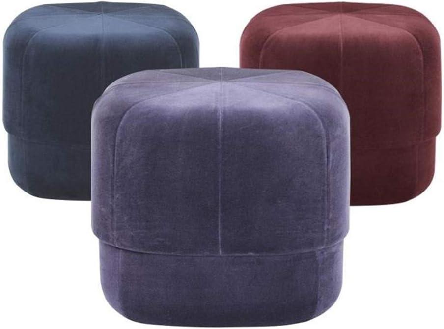 Footstool Gold Velvet Cloth Massivholz Ändern Schuh Bank Bekleidungsgeschäft Sofa Hocker Wohnzimmer Circular Hocker (Größe: 40 X 40 X 40 cm) (Farbe: Lila) Purple