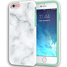 """iPhone 6 6s Case, True Color® White Marble [Stone Texture Collection] Slim Hybrid Hard Back + Soft TPU Bumper Protective Durable [True Protect Series] iPhone 6 / 6s 4.7""""- Mint Bumper"""