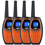Walkie Talkies 22 Channel Two Way Radios Long Range Handheld Walkie Talky Kids Adult 4 Pack Orange
