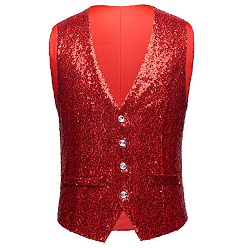 Allthemen Wedding Suit Red Vest Glitter Men's CrwBqC8