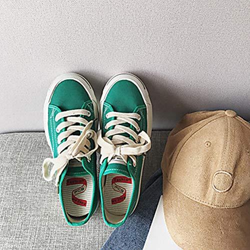EU38 Green Punta Rosso 5 Per Comoda 5 Piatto TTSHOES Primavera Nero CN38 Donna UK5 Tessuto Scarpe Tonda Verde Sneakers US7 4PxwpOAaqp