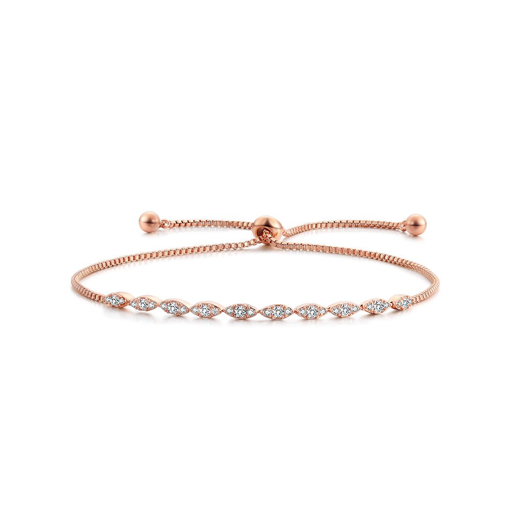 DIFINES Redbarry Marquise Shaped CZ Diamond Paved 18k Rose Gold Plated Adjustable Bracelet for Women Girls