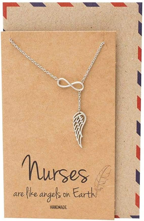 Doodle Beads Nurse Gift Thank You Nurse Gift Angel Wing Necklace with Card