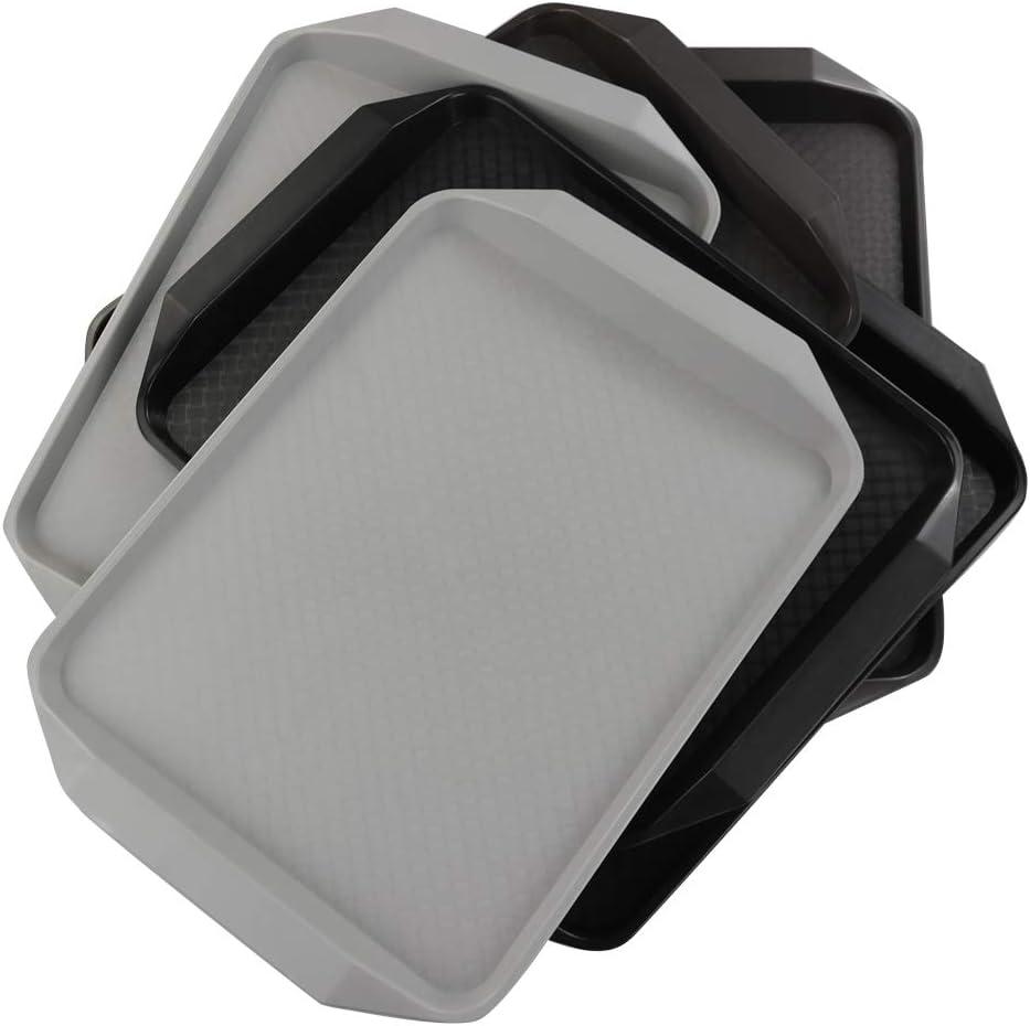 Vareone Bandeja Bandejas para Servir de Plastico Grande Rectangulares, Color Negro Marrón y Gris, 6 Unidades