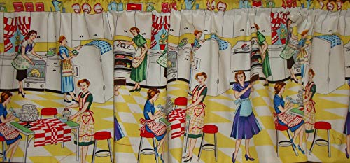 (Valance Retro Home Economics Print Window Treatment Topper Custom Made)
