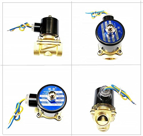 Brand New 3/4 inch 12V DC Slim Brass Solenoid Valve NPS Gas Water Air Normally ()
