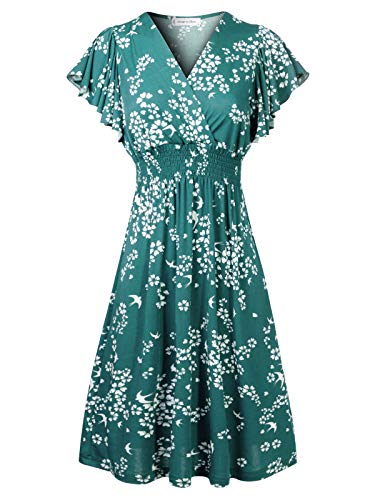 Design by Olivia Women's Deep V Neck Princess Seamed Casual Flared Midi Flower Print Dress Turquoise S