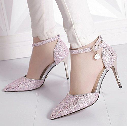 Aisun Kvinners Glitter Sequin Sandaler Med Ankel Strap - Fest Bryllup Høy Hæl Spenne - Spisse Tå Stiletthæler Dorsay Rosa