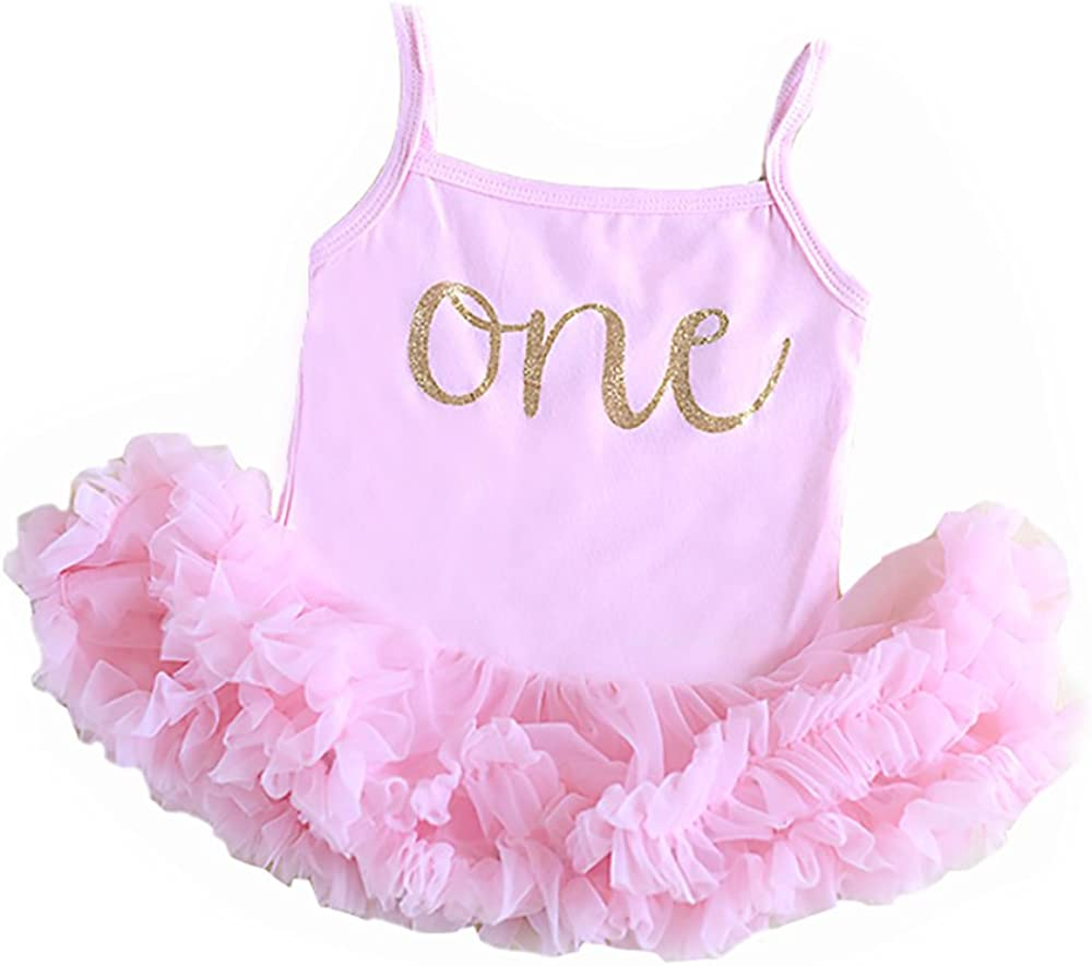 Amazon.com: Baby Girl Rosa para Primer Cumpleaños de Outfit ...