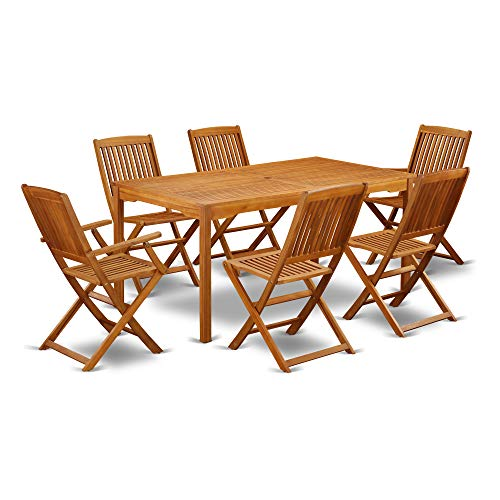 CMCM72CANA This 7 Pc Acacia Solid wood Outdoor Sets provides you one outdoor table and Six patio dining chair