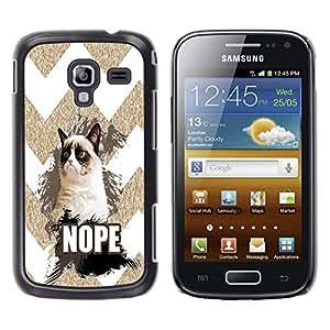 - Chevron Grumpy Cat - - Monedero pared Design Premium cuero del tir¨®n magn¨¦tico delgado del caso de la cubierta pata de ca FOR Samsung GALAXY Ace 2 I8160 Funny House