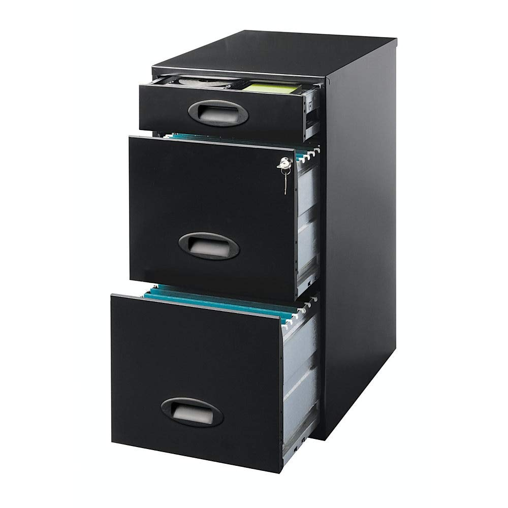 Realspace SOHO 18''D 3-Drawer Organizer Vertical File Cabinet, Black by Realspace