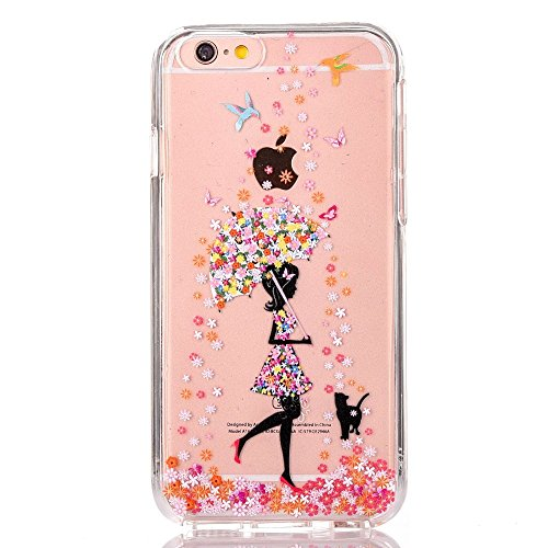 GreenDimension iPhone 6 Plus/6S Plus Floral Protective Cases for Girl, Clear Hard Plastic PC Scratch Resistant Tough Skin Cover + Flexible Soft TPU Cushion Silicone Transparent Shock Absorption Shell