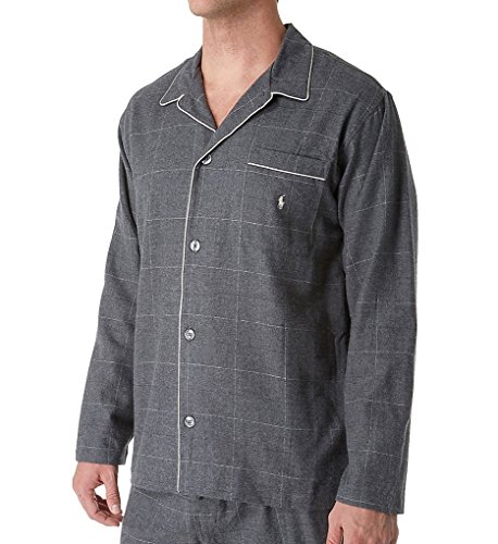 Polo Ralph Lauren Flannel Long Sleeve Pajama Top (P656) L/Charcoal Cream