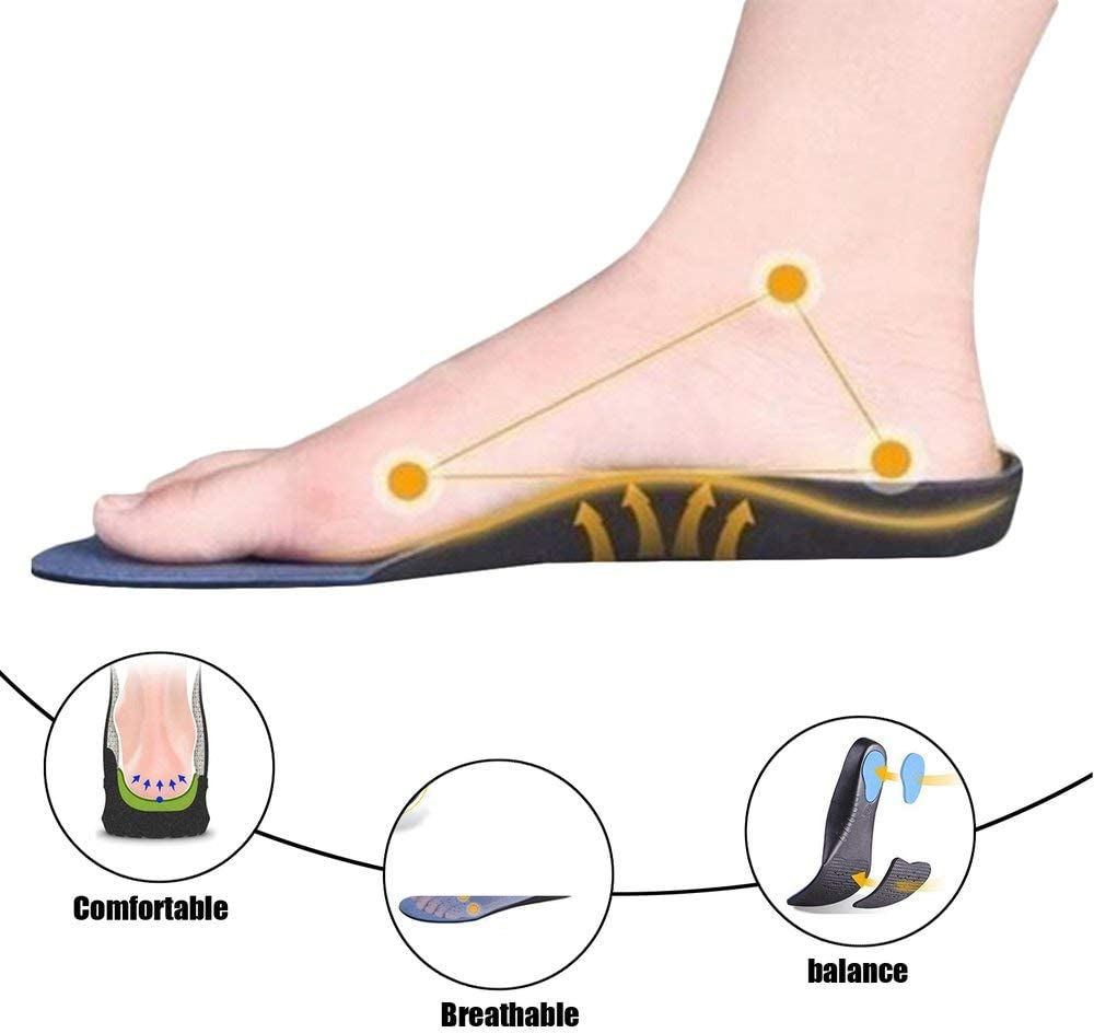 High Arch Supports Insoles for Flatfoot Cubitus Orthopedic Feet Cushion Pads Blue 44-47 34-37
