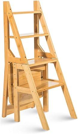 Escaleras plegables Taburete multifuncional para el hogar silla plegable para niños de madera maciza escalera de cuatro pasos con dos funciones escalera multifunción para sala de estar silla multif: Amazon.es: Hogar