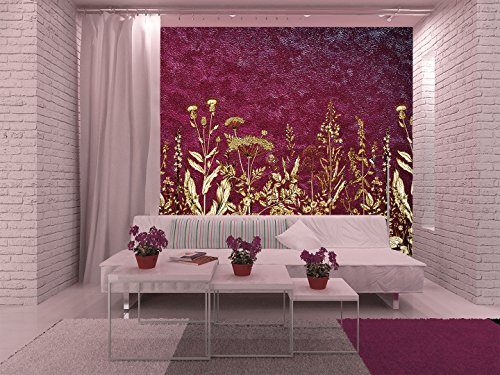 Large Wall Mural Various Flowers on Purple Textured Background Vinyl Wallpaper Removable Wall Decor