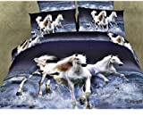 LOVE(TM)Queen Size 4-pieces 3d Running White Horse Running in the sea Prints Duvet Cover Sets/bedding Sets (Queen, 1 Duvet Cover+1 flat sheet +2 Pillowcases)