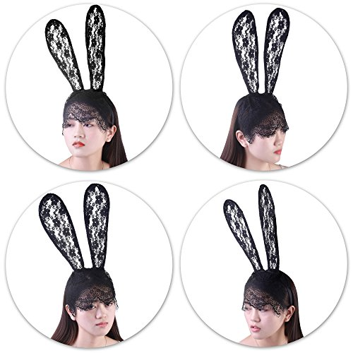 Party City Bunny Costume (Kloud City Black Bunny Headband with Sexy Lace Tassel Veil Mask Long Rabbit Ears Headwear Head Wrap Hair Accessory Costume Halloween Party)