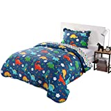 100% Cotton 2 Piece Kids Quilt Bedspread Comforter Set Throw Blanket for Teens Boys Girls Kids Beds Bedding Coverlet, Cartoon Dinosaur (Twin)