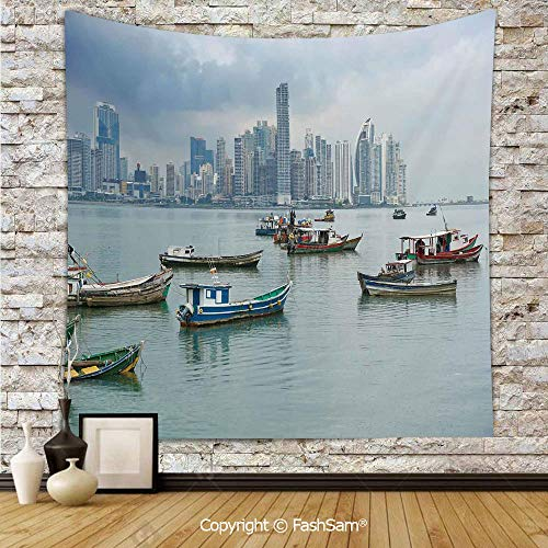 Tapestry Wall Blanket Wall Decor Anchored Fishing Boats Skyscrapers Panama Cityscape Pacific Coast Central America Home Decorations for Bedroom(W51xL59) -