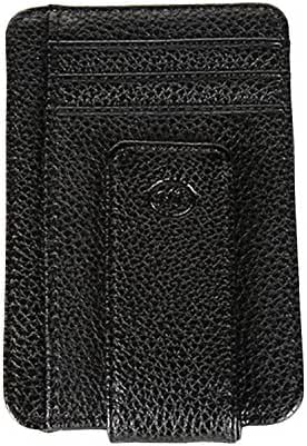 YEX Men's Wallet Leather Mini Front Pocket Money Clip Strong Magnet Slim Wallet, Black