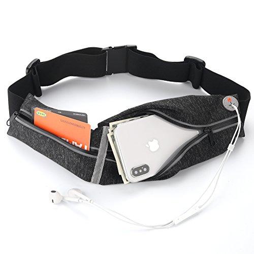 Cangurera para correr, Naropox Cinturón deportivo con 2 compartimentos cremallera hidrófugos para guardar Celular,...