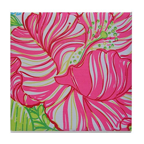 CafePress Hibiscus in Lilly Pulitzer Tile Coaster, Drink Coaster, Small Trivet