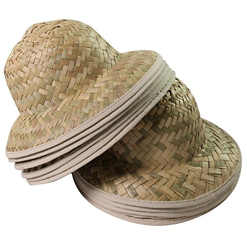 Imported Jungle Hat - Kids Dozen Straw Pith Safari Explorer Hats