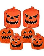 Halloween Pumpkin Lawn Bags, 6 Pack Plastic Leaf Garbage Bag Pumpkin Pattern Trash Bags for Outdoor Fall Halloween Decorations Bag with Twist Ties Jack O Lantern