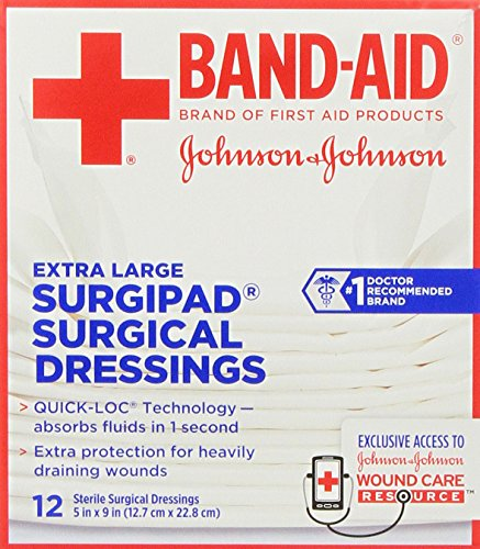 (Johnson & Johnson Red Cross Surgipad Surgical Dressings, 5 Inch x 9 Inch, 12 Count (Pack of 2))