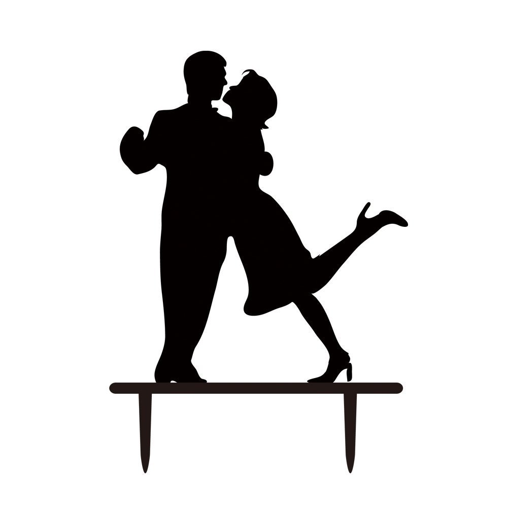 Latin Dance Bride and Groom Silhouette Wedding Cake Topper,Dancer Wedding Cake Decal,Modern Married Decoration Wedding Party