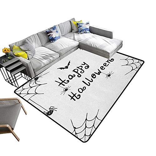 Spider Web Decorative Floor mat Happy Halloween Celebration Monochrome Hand Drawn Style Creepy Doodle Artwork 78