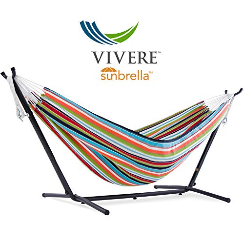 Vivere Double Sunbrella Hammock with Space Saving Steel Stand, Carousel Confetti (450 lb Capacity -...