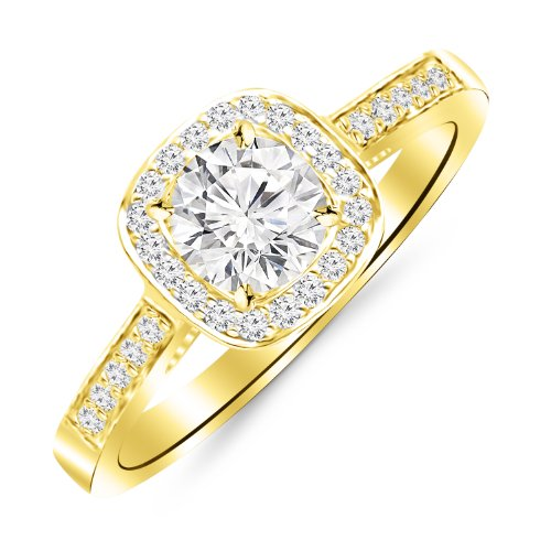 2.25 Carat Graduating Classic Cushion Halo Prong and Pave-Set Diamond Engagement Ring 14K Yellow Gold with a 2 Carat Round Cut Moissanite (Heirloom Quality) Moissanite Cushion Wedding Set Ring