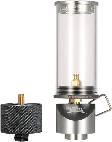 Lixada Luz de Gas Butano/Lámpara Camping + Adaptador para Cartucho de Gas + Estuche de Almacenamiento para Auto-Picnic Camping