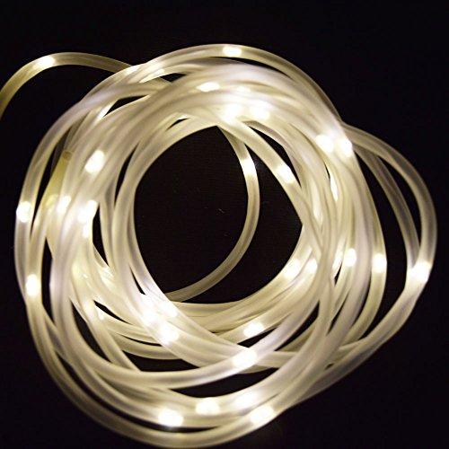 Fantado 50 Warm White LED Solar Powered Garden Stake Rope Tube String Light w/Light Sensor (16.5 FT) by PaperLanternStore (Tube Solar Led Powered)