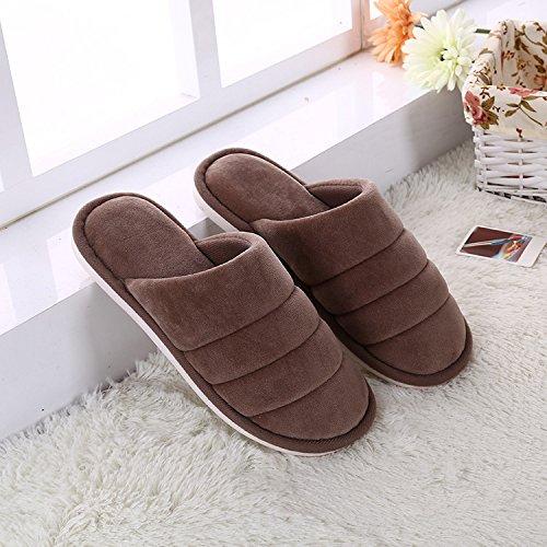 Y-Hui Otoño e Invierno ultra suave color Baldosa madera cálida casa zapatillas de algodón grueso algodón color de patinaje de arrastre en invierno,27 (3940 pies),el café