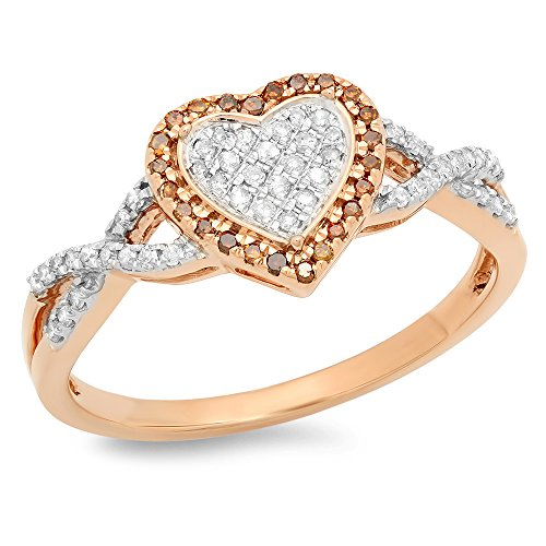 - Dazzlingrock Collection 0.25 Carat (ctw) 10K Round Cut Red & White Diamond Swirl Promise Heart Ring 1/4 CT, Rose Gold, Size 7.5