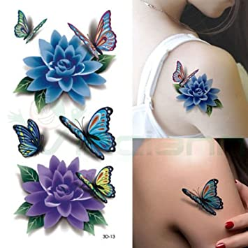 Tatuaje Tattoo Temporalmente Lavable Flores Mariposas Body Art