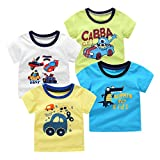 SAYM Little Boys' 4-Pack Multi Cotton Dinosaur Short Sleeve Tee Shirts NO9 3T